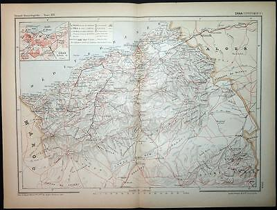 c1898 ANTIQUE PRINT COLOUR MAP of ORAN (DEPARTEMENT D') Algeria CARTE