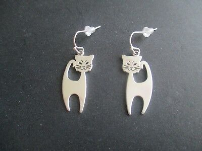 Cat Earrings..Silver Plated..Nice Look...New