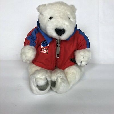 RARE Miniature COCA-COLA Athens 2004 SOCCER Olympics POLAR BEAR Bean Bag PLUSH