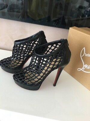 ec6739166f7 CHRISTIAN LOUBOUTIN COUSSIN Black Woven Cage Platform Booties Heels Size  36.5