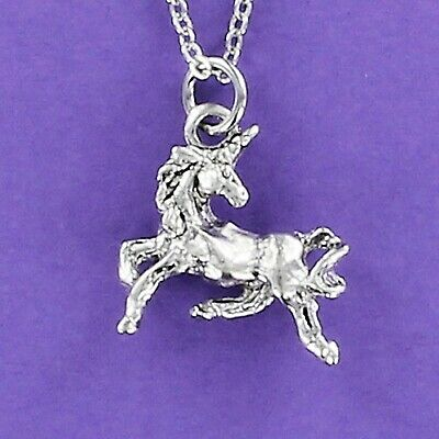 Unicorn Necklace - Pewter Charm on Chain Horse Horn Fantasy Myth Legend 3D NEW