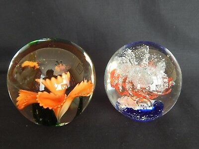 2 Glass Paper Weights ~ Orange And Blue