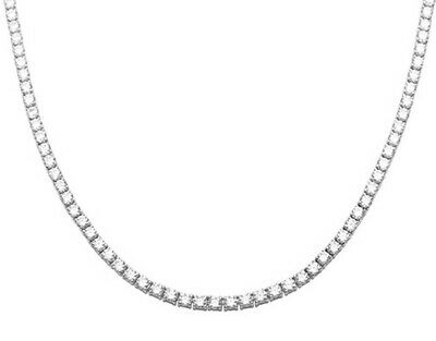 """Tennis Necklace Iced Out 3 mm in Swarovski Crystals 16"""" 18K White Gold ITALY"""