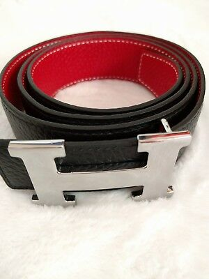 Hermes Togo Leather Reversible Red On Black 35mm Silver H Belt  Size 95
