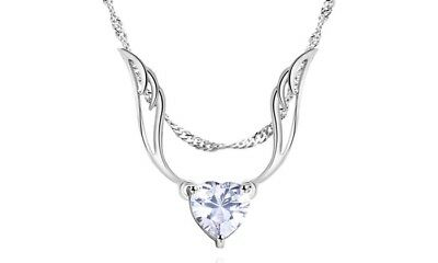 925 Silver Angel Wings Necklace Chain Gift Heart Charm Choker Pendant For Women