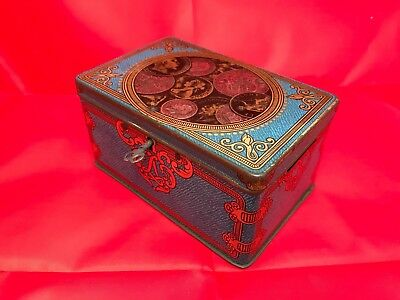Small Vintage Antique Lyon Tin Money Box with lock and key, VGC for Age.