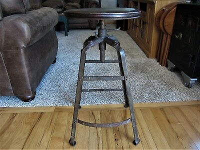 Adjustable Industrial Drafting Stool Cast Iron Wood Victorian Bar Counter Seat