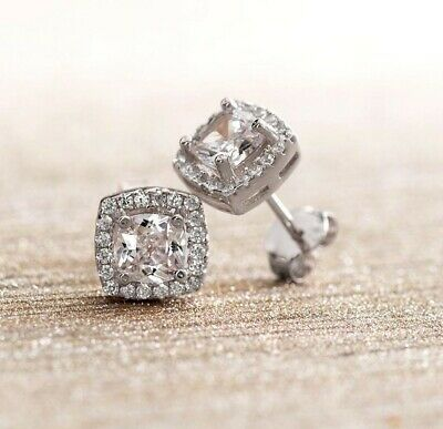 14K White Gold Plated Princess Round Crystal Halo Square Stud Earrings 3.44 CT