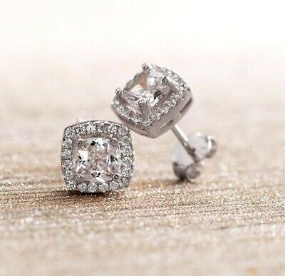 14K White Gold Princess Round Crystal Halo Square Stud Earrings .75ct