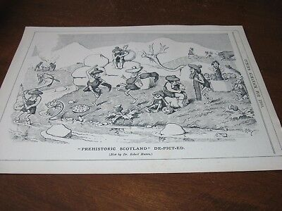 1900 Original CARTOON - Prehistoric SCOTLAND in STONE AGE Scottish Dance Bagpipe