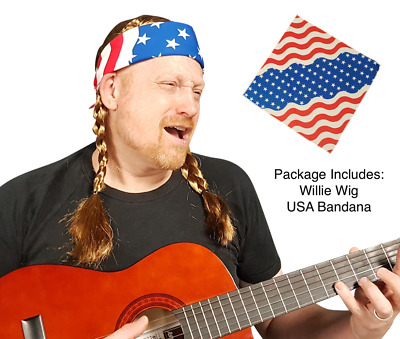 Willie Nelson Offical Wig Cowboy Country Costume