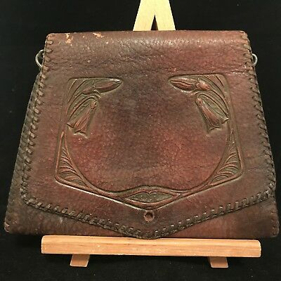 Antique Leather Purse Art Deco Nouveau Arts Crafts Flower Tooled Brown FREE SHIP