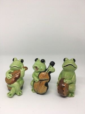 1970's ? Vintage Lot of 3 Ceramic Green Frog Music Band Figurines~