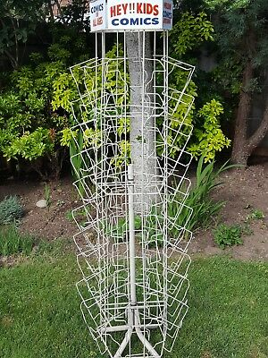 Vintage 60s 70s metal wire comic book stand store display rack merry go round