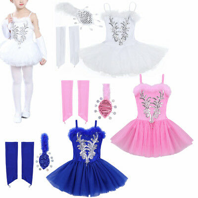 Girls Sparkly Beaded Ballet Dress Swan Dance Outfit Gymnastic Costume Tutu Skirt