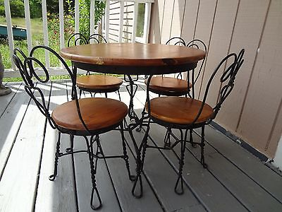 Vintage Original Ice Cream Parlor Table Chair Set Childs Oak