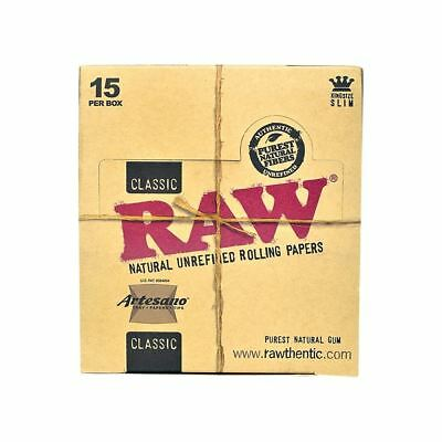 Raw Rolling Paper- Artesano King Size Tray + Papers + Tips Ful Box of 15