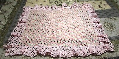 NEW Crochet Baby Crib Blanket - Pink Yellow Green White