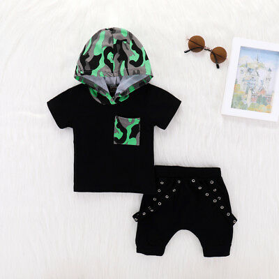 Toddler Kids Baby Boy Camo Hoodie T-shirt Tops Shorts Outfits Summer Clothes Set