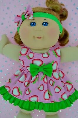 "PlaynWear Doll Clothes For 14"" Cabbage Patch STRAWBERRY DRESS~BLOOMERS~HEADBAND"