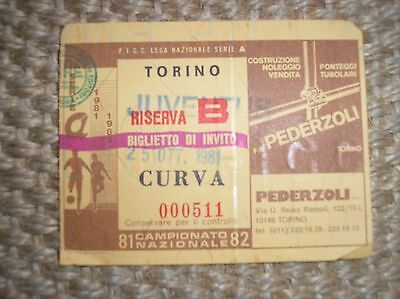 Torino Juventus 1981-1982 Billet Billet Football 81/82 Ligue