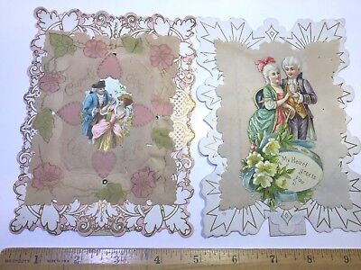 VINTAGE VALENTINES Lot of 2 DIE CUTS colonial couples  mulit layered easel backs
