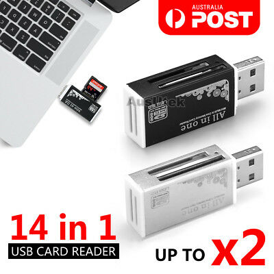 All IN 1 USB Mobile SD Card Reader 14 in 1 SDHC Micro SD to USB 2.0 TF M2 MS MMC