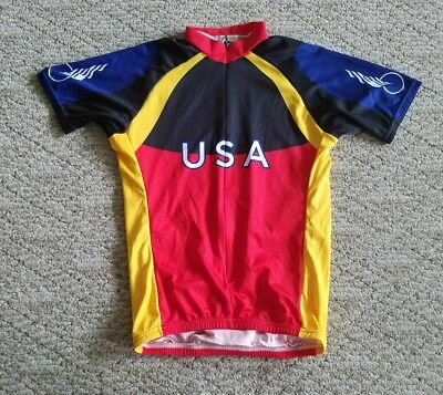 Euc Rare Voler Men s Usa Cycling Jersey 3 4 Zip Size Small S Black Red 79356f8ff
