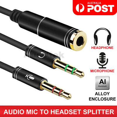 AUX 3.5mm Stereo Mic Splitter Cable Female to Male Headphone Microphone Adapter