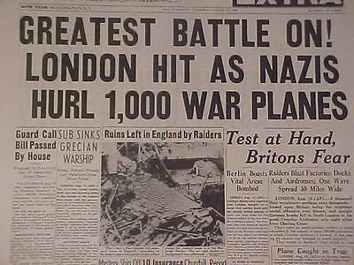 Vintage Newspaper Headline ~World War German Nazi Planes Bomb London Battle Wwii