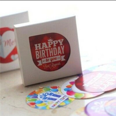 Pack of 38 Pieces Mini Happy Birthday Round & Square Various Stickers Seals