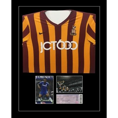 """Football Shirt Frame with Program and 1 x 6"""" x 4"""" photo and ticket Black Mount"""