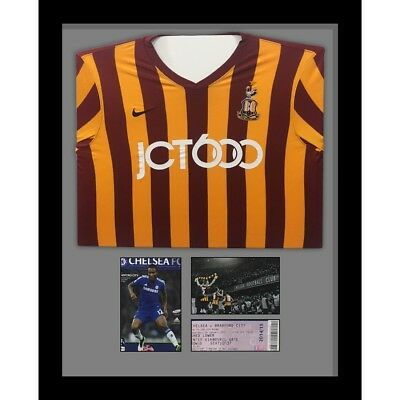 """Football Shirt Frame with Program and 1 x 6"""" x 4"""" photo and ticket Grey Mount"""