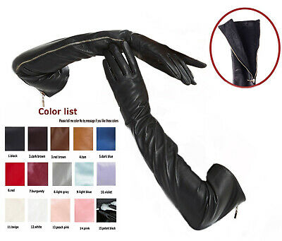 Custom made 30cm to 75cm long visible real side zipper style real leather gloves