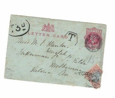 GREAT BRITAIN 1892 1d QV Lettercard,cds AYR + Melbourne TAXED 6d Postage Due