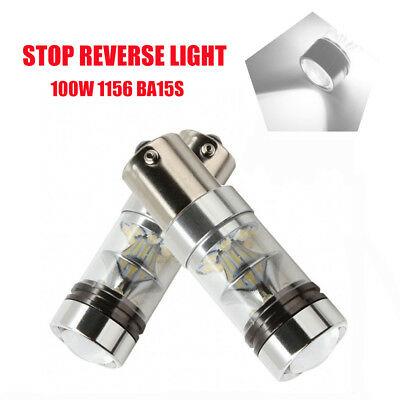 2X 100W 1156 Ba15S Car White Globe Led Brake Reverse Turn Stop Tail Light Bulbs