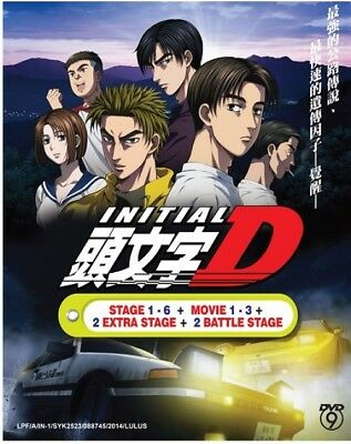 Initial D Stage 1-6 +2 Battle Stage + 2 Extra + 3 Movie Anime DVD Eng Sub