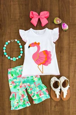 Canis Fashion Kids Baby Girls Flamingo Tops T-shirt Long Pants Outfits Clothes