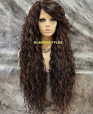 Long Curl Layered Brown Auburn Mix Full Lace Front Wig Heat Ok Hair Piece #T4.27