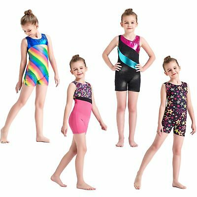 Girls Rainbow Gymnastics Leotards Sport Training Ballet Tank Biketard 3-12Y Leo