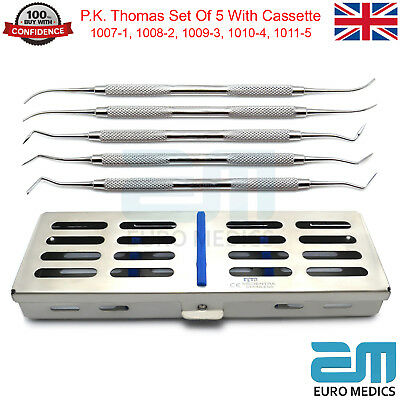 Dental Set Of 5 P.K. Thomas Carvers With 5 Pcs Cassette Dentistry Surgical Tools