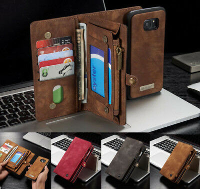 For iPhone 11 Xs Max 8 7+ Leather Removable Wallet Magnetic Flip Card Case Cover