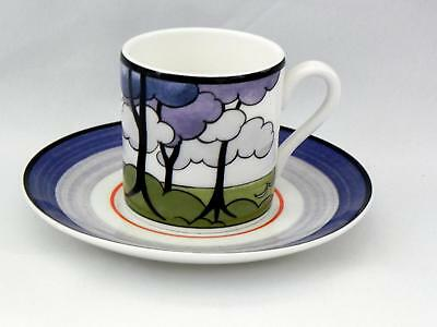 W/WOOD-CLARICE CLIFF-Café Chic Cup/Saucer- *BLUE FIRS*  -  Very Good Condition