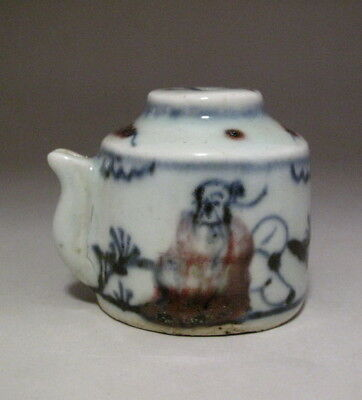 Old Chinese Underglaze Red Blue White Porcelain Water Dripper /Water Dropper