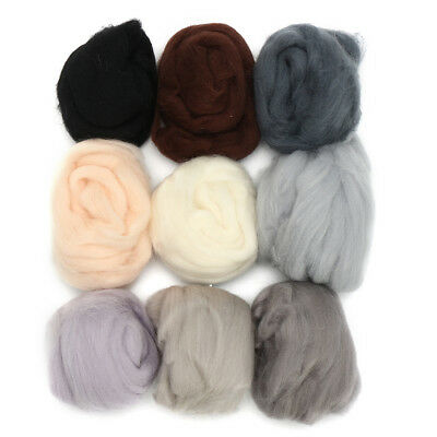 Retro Lot of 9 colors 10g Wool Fibre Roving For Needle Felting Hand Spinning