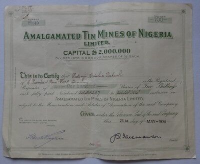 Nigeria AMALGATED TIN MINES OF NIGERIA 1939 share certificate