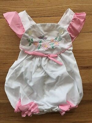Vintage 60s 70s Baby Romper Ruffles Embroidered Pink Honeybee bubble