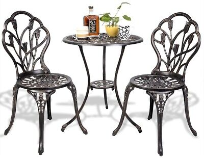 Cast Aluminum Outdoor Bistro Set 3 Piece Metal Patio Coffee Table
