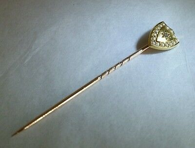 Victorian 18ct Gold Stick pin.Of shield design, set with a diamond & Seed pearls