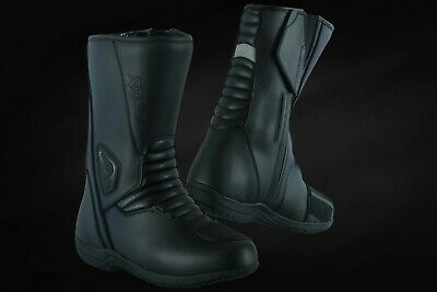 Motorcycle Touring Boots Black Leather  Waterproof Touring Shoes Raxid Woltex